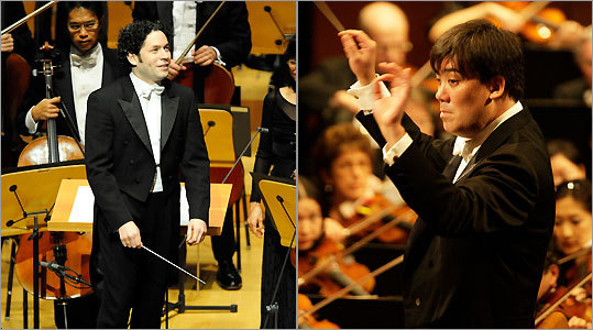 From left: Gustavo Dudamel, Los Angeles Philharmonic, Oct. 8; Alan Gilbert, New York Philharmonic, Sept. 16