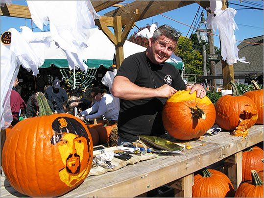 For most of us, pumpkin-carving involves clumsily cutting triangle eyes and a jagged mouth. Not so for Sean Fitzpatrick of Saugus. The former auto mechanic now makes his living carving and sculpting ice, sand, snow, foam, and, yes, pumpkins. Fitzpatrick spends fall weekends at fairs around the country, showing off his skills &mdash; he's cut everything from intricate flowers and ghouls to the likenesses of Sarah Palin and David Ortiz into pumpkins. See some of his spooky creations. &mdash; Courtney Hollands