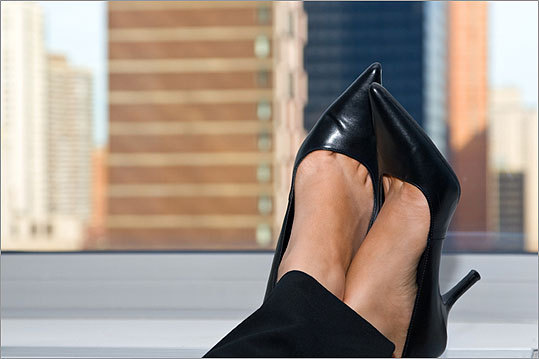 Shoes should not show too much foot. Stay away from open-toed or slingback shoes. And please keep in mind that nobody wants to see -- or hear -- your flip-flops clomping through the office.