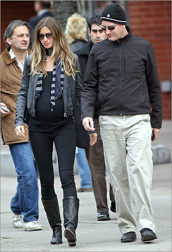 Bundchen walked with her helicopter pilot instructor in Boston after dining for lunch on Nov. 11, 2009. She would give birth just a few weeks later. Read more in Names: Gisele lands in Back Bay (Nov. 12)