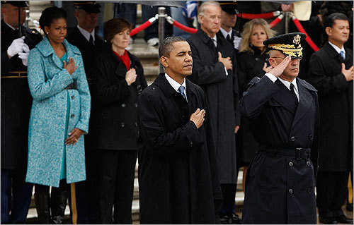 President Barack Obama, with US Army Brig. Gen. Karl Horst during the wreath-laying ceremony. Said Obama: 'To all of them -- to our veterans, to the fallen and to their families -- there is no tribute, no commemoration, no praise that can truly match the magnitude of your service and your sacrifice.'