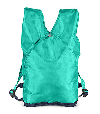 Hidden Backpack Price: $28 This bag is green in color and environmental impact. It's made from recycled PET fabric, and zips up into a wallet-size form for easy storage. Unzip, and it becomes a backpack.