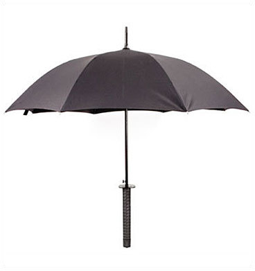 Ninja Umbrella Price: $28 Dodge raindrops. Like a ninja, no less. This umbrella comes with a samurai sword handle and a lightweight carrying case for slinging over your shoulder.