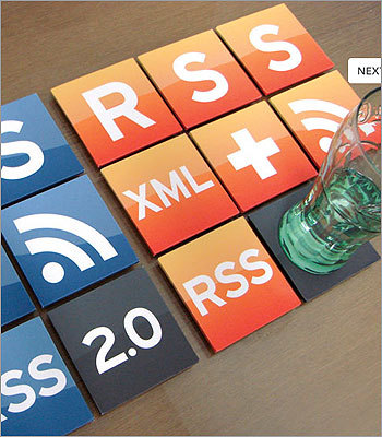 RSS Coasters Price: $44.99 Sure, you've got company over. But you can't seem to get that RSS feed off your mind. Put it on the table, instead. These 16 coasters are reusable and washable, made of MDF plywood, and feature Internet-themed vinyl decals.