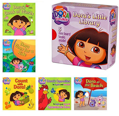 Dora returns to the Top 10 list after not making the cut last year. Merchandise featuring the star of the Nickelodeon TV show includes DVDs, clothes, dolls, books, and more. Shown here is a new mini-book set called 'Dora's Little Library.'