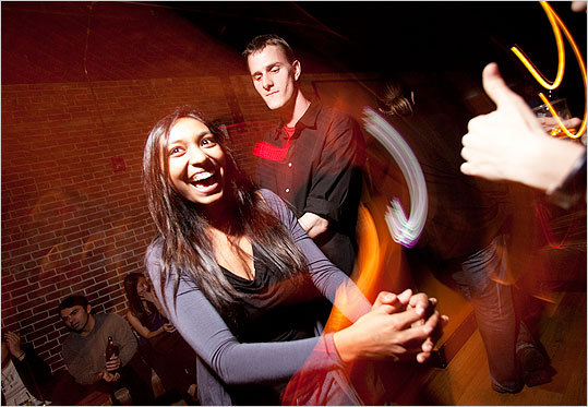 Sejuti Sengupta and Kris Red, both of Medford, warmed up the dance floor.