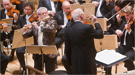 The Boston Symphony Orchestra's conductor emeritus Bernard Haitink led flutist Sir James Galway with the BSO last night. The performance honored Haitink's 80th birthday and Galway's 70th.