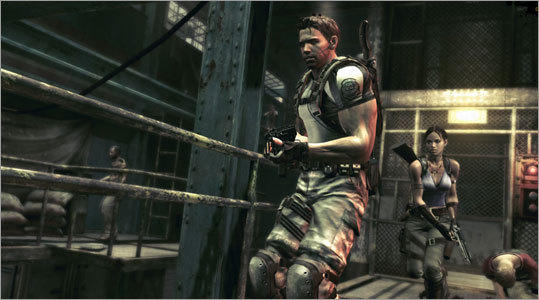 Resident Evil 5 Platform: Playstation 3, Xbox 360 Price: $49.99 The latest from Capcom's zombie saga pits players against the severely infected citizens of Kijuju. They've developed tentacles. Their eyeballs are oozing. An evolutionary manipulation has gone wrong, and it's Chris Redfield's job to contend it. You're Chris. Resident Evil 5 pits familiar characters in a new storyline with upgraded features. Split-screen play takes a new direction both literally and figuratively, allowing gamers to co-op online.