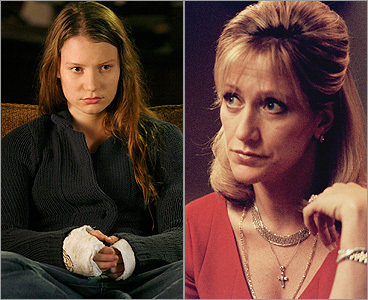 Mia Wasikowska as Sophie on 'In Treatment' (left); Edie Falco as Carnela on 'The Sopranos.'