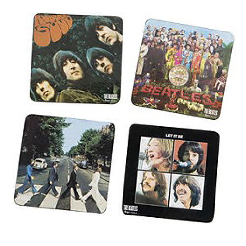 Beatles coaster set Price: $7.99 Whether you're a baby boomer who grew up idolizing the Fab Four, or a young video gamer turned on to the group thanks to The Beatles: Rock Band video game, you can put your drink down and let it be with this four-pack of album cover coasters.