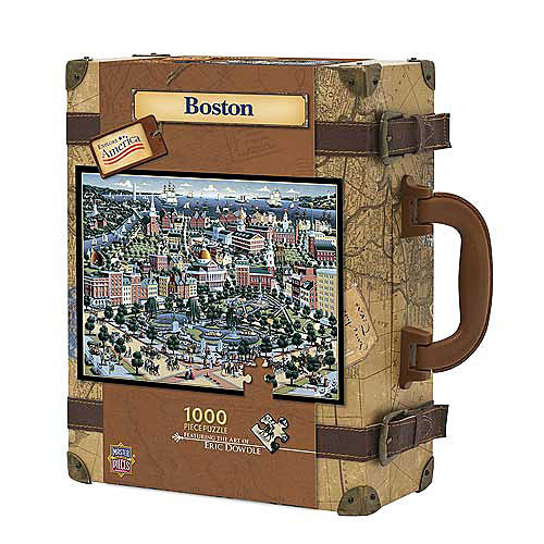 Boston puzzle in a suitcase Price: $19.98 This unique jigsaw puzzle features an aerial view of downtown Boston from artist Eric Dowdle, and comes packaged in a collector's edition suitcase. The puzzle has 1,000 pieces and measures 19.25 inches by 26.75 inches when completed.