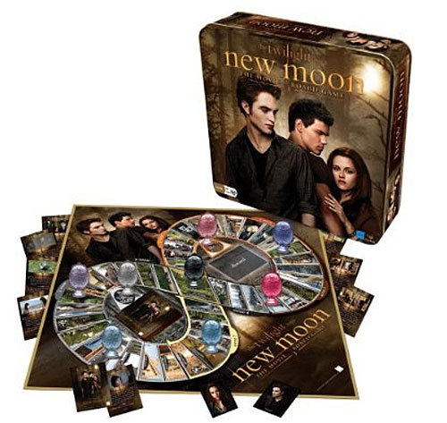 'New Moon' Movie Board Game Price: $14.99 For fans of the Twilight saga who just can't get enough. Forget the rivalry between Edward and Jacob - you can take on your real-life nemesis to see who really knows more about the second installment in this book/movie juggernaut. Recommended for ages 10 and up, 2-4 players can compete for the eight scene cards that lead to victory.