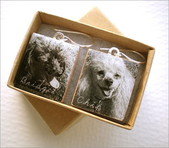 Custom pet photo earrings Price: $20 Ever wanted to show off your pets to people at work, but thought bringing in your scrapbook to the office was a little much? With these custom earrings, you can wear photos of your pets. Just send in photos, and the images will be adjusted, sized, and affixed to Scrabble letters that have been converted to earrings.