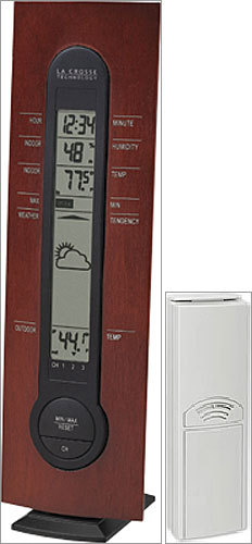 Wireless Weather Center Price: $19.95 (sale price) Are you tired of squinting out your window to see where the arm on that old outdoor thermometer is pointing? Then check out this digital wireless weather center from La Crosse Technology. Mount a wireless sensor anywhere outside - up to 80 feet away - to catch the external temperature, and place the weather center on a table or mount it on the wall and get easy-to-read an accurate readings from both outside and inside.