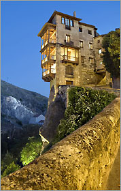 One of Cuenca's hanging houses that overlook rivers and gorges. The Gothic cathedral stands out in the city's central square.