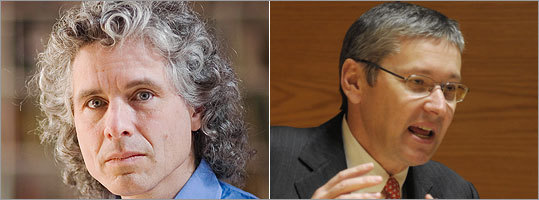 Harvard professor Steven Pinker (left) has agreed to have notes from his lectures posted on Finalsclub's site. His colleague, Greg Mankiw, has refused.