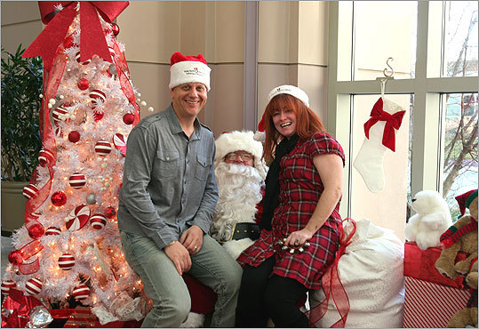 Dec. 12 in Boston Here, Karson Tager (left) and Kennedy Elsey, hosts of the radio station Mix 104.1's 'Karson and Kennedy Radio Show,' sat with Globe Santa and helped get donations from people shopping at the Prudential Center mall. Learn more Make a donation