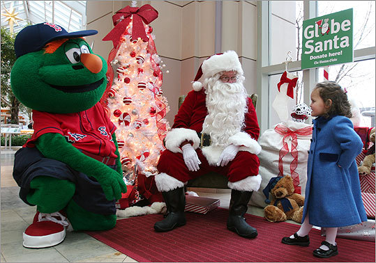 Dec. 13 in Boston Olivia Lugo visited with Globe Santa and Wally the Green Monster. Learn more Make a donation