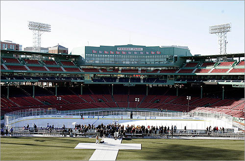 Ice hockey has invaded the home of the Red Sox in preparation for the NHL's Winter Classic game, to be played Jan. 1 by the Boston Bruins and Philadelphia Flyers. Related: First skate at Fenway