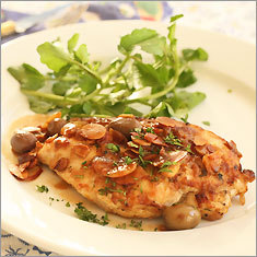 Spanish-style chicken with almonds, raisins, and olives