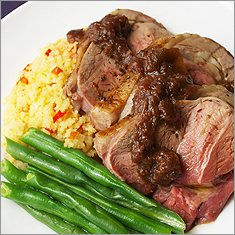 Roast leg of lamb with figs