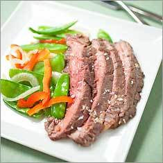 Flank steak with snow peas