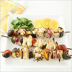 Marinated lemon-chicken kebabs