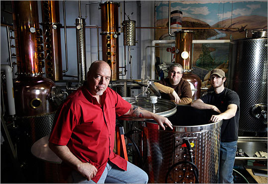Kent Fleischmann, Don Poffenroth, and Patrick Donovan (left to right) of Dry Fly Distiller in Spokane, Wash., represent a growing trend in the business of booze: Small-scale distilleries making high-quality whiskey, gin, vodka, and other spirits. Just as the market for craft beers and wines boomed during the past two decades, the audience has similarly grown for small-scale booze that is high quality and often higher priced.