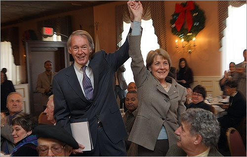 Coakley and US Congressman Edward Markey greeted supporters at a breakfast in honor of Martin Luther King Jr. with the North Shore Black Women's Association Inc. on Saturday.