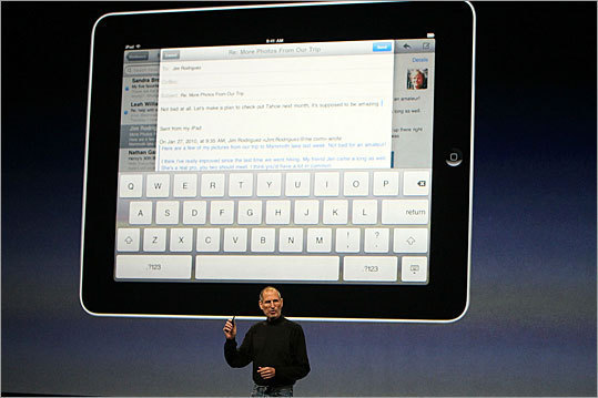 It has a virtual keyboard Much like the iPhone, the iPad uses a touch-screen keyboard - albeit on a larger scale, making the virtual keyboard much larger than the one on the iPhone.