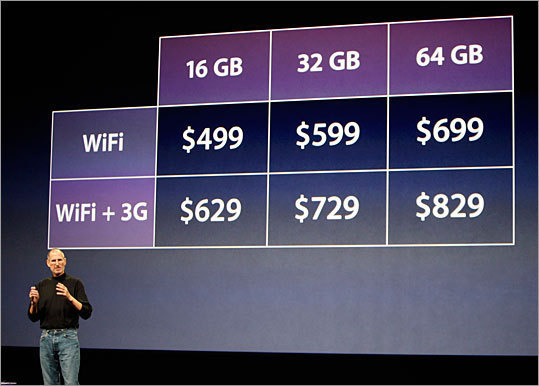 There are two iPad models and three levels of storage capacity iPads will come in three flash drive sizes - 16GB, 32GB, or 64GB - in both the WiFi-only models and the WiFi plus 3G models. WiFi models will cost $499 for 16GB, $599 for 32 GB, and $699 for 64GB. WiFi + 3G models Will cost $629 for 16GB, $729 for 32GB, and $829 for 64GB.