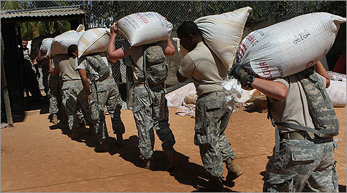 The food distribution line was set up by the 82nd Airborne Division from Fort Bragg, North Carolina.