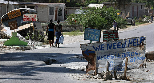 Makeshift signs of need in Marianny, Haiti.