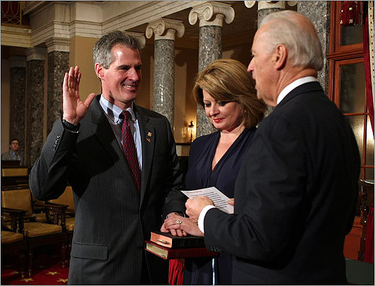 Scott Brown was officially sworn in as Senator of Massachusetts on Thursday. The special Senate election results were certified this morning and Brown headed to Washington to be seated in the Senate. During a ceremonial swearing in at the Old Senate Chamber, Senator Brown's wife Gail Huff held two Bibles from the couple's daughters as Vice President Joe Biden presided over the ceremony.
