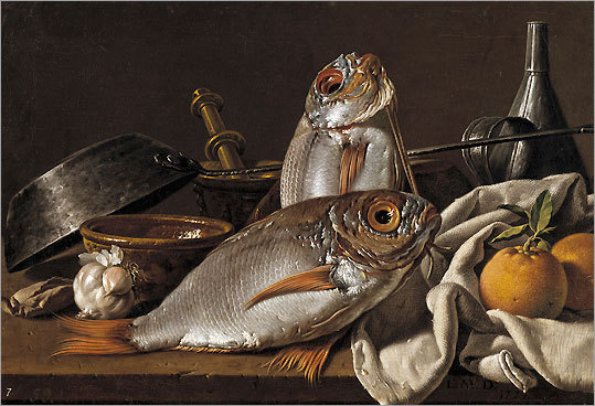 'Still Life With Bream, Oranges, Garlic, Condiments, and Kitchen Utensils'