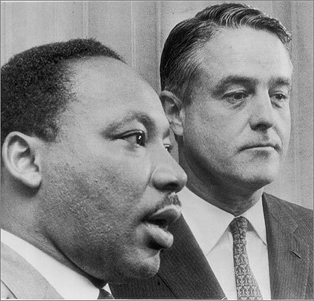 Sargent Shriver, Eunice's husband, founded the Peace Corps and was a Democratic vice presidential candidate in 1972. Here, Shriver appeared with Martin Luther King Jr. at a conference on Mississippi's poverty program.