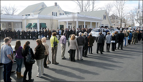 People stood in line outside the Miles Funeral Home in Holden for Britney Gengel's wake.