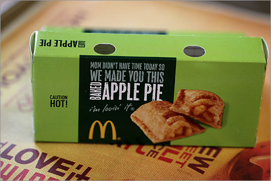 Hot Apple Pie McDonald's The apple pie, which is now baked instead of deep fried, is a marvelous accompaniment the the McCafe offerings. The filling has real fruit, the crust is flaky, and the result is light and pleasantly tart. And it's good enough to out-compete the nostalgia for the deep-fried apple pie, now made at a dwindling number of franchises.