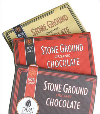 Taza chocolate This Somerville chocolatier features products made using an Mexican artisanal technique from stone-ground cocoa beans. Taza has been producing its organic chocolate bars since 2006, and its products are sold in almost every state.