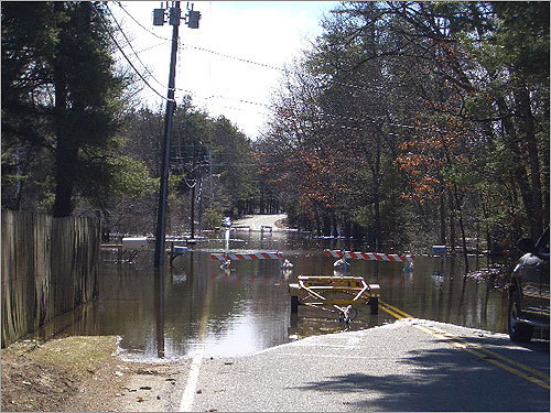 Walker Road in Shirley, where detour signs were put up.