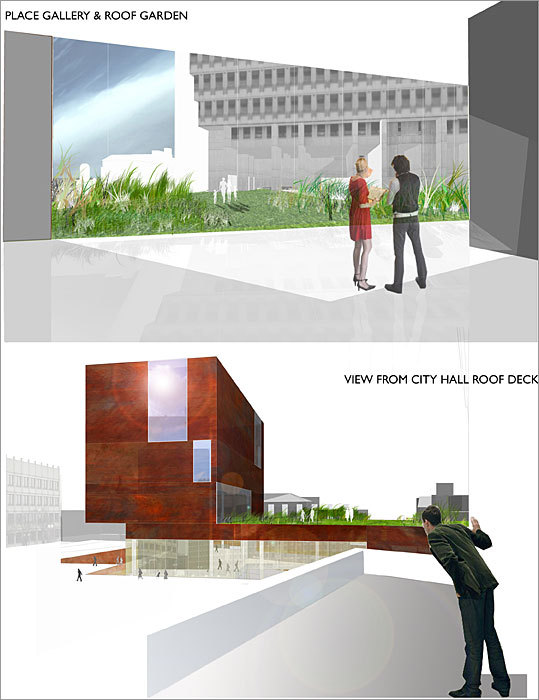 2010 Rotch Design Competition Design No. 5 Design by: Eric Weyant of Concord The galleries in the tower have large shifting planes of glass allowing for unique perspectives from Faneuil Hall to Cambridge Street. The material of the museum is a play on the worn, chipped brick of the Freedom Trail.