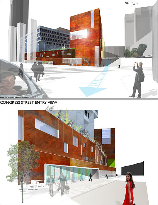 2010 Rotch Design Competition Design No. 5 Design by: Eric Weyant of Concord The Congress Street edge is lined with public activities like a cafe and bookstore. Inside City Hall, a lecture hall and theater below support upper-level office and staff space.