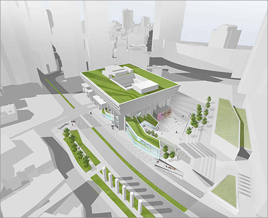 2010 Rotch Design Competition Design No. 6 Design by: Karen Blanchard of Philadelphia This design aims to bring social activity back to the currently businesslike City Hall plaza. The north end of the plaza becomes dedicated to the museum, which weaves itself into the existing City Hall. A small entry plaza that feeds the museum entrance, a bookstore and a cafe.