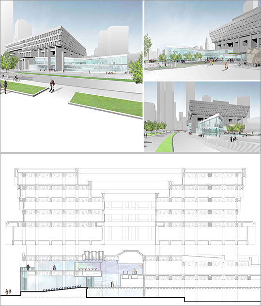 2010 Rotch Design Competition Design No. 6 Design by: Karen Blanchard of Philadelphia The large number of steps off Congress Street are balanced out by a ramp that invites visitors to the museum plaza. The glassy museum advertises itself through transparency.