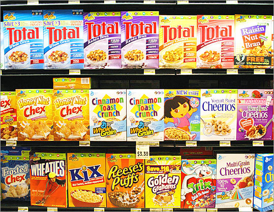 General Mills cuts sugar December 2009 The maker of Lucky Charms, Trix, and Cocoa Puffs said it would reduce the sugar in cereals it markets to children. Under the changes, those cereals would contain single-digit grams of sugar per serving.