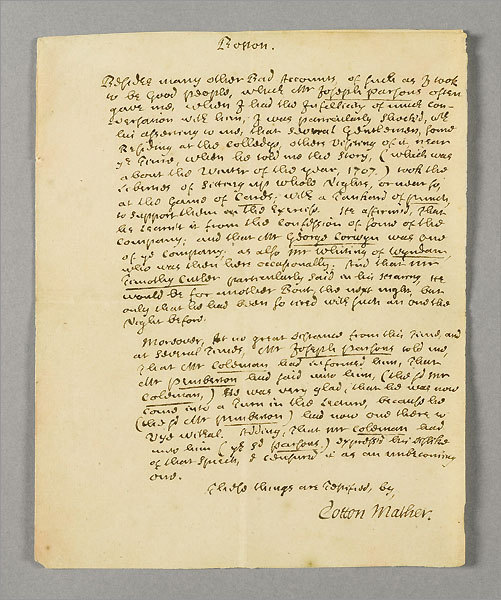A document signed by Cotton Mather
