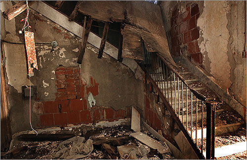 A collapsed stairway inside the East Boston Immigration Station.