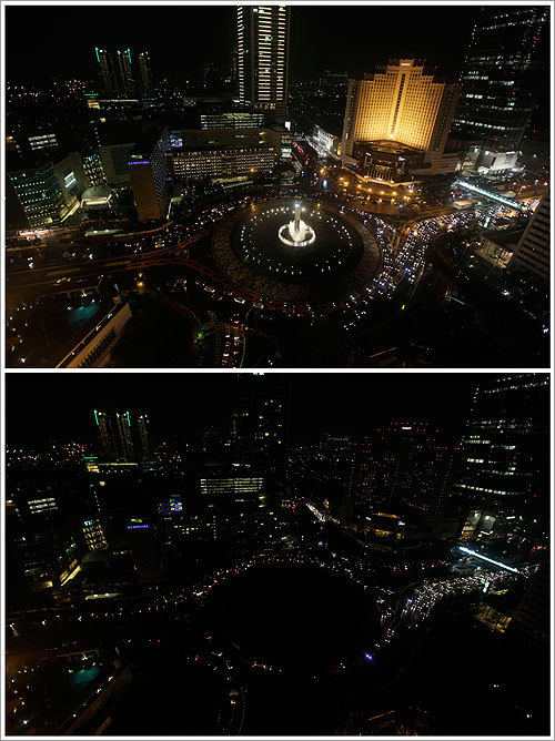 Everyone around the world was asked to turn off lights for an hour at 8:30 p.m. local time, meant as a show of support for tougher action to confront climate change. This combination photo shows the before and after of Earth Hour, where buildings turned off most of their lights Saturday, in the main business district in Jakarta, Indonesia.