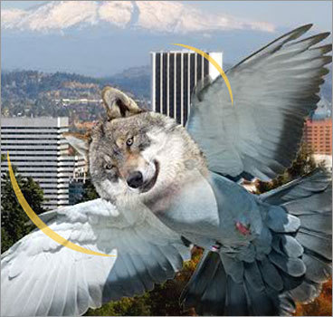 Wolfpigeons Qualcomm, 2009 The San Diego telecommunications company unveiled a bold new method of broadcasting wireless signals last year: Flying wolf-pigeon hybrids that would bring Wi-Fi around the world. According to Qualcomm, the wolf enhancements were made to pigeons because, 'We simply cannot allow our network transmitters to be killed off by feral cats or cold weather.' To guard against a wolf-pigeon rebellion, the company also pitched a shark-falcon crossover.