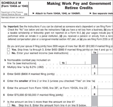 By Kay Bell | Bankrate.com 1. Not claiming the Making Work Pay credit Last year, your paychecks probably were slightly larger thanks to the Making Work Pay credit that was enacted as part of the 2009 stimulus bill. That change was thanks to adjusted payroll withholding tables, but to officially get that credit, you must claim it on your tax return this year. Filers who use Form 1040 or 1040A will need to send in Schedule M . Those who use Form 1040EZ need to complete the work sheet on the back of that form. The credit is worth up to $400 for individuals and $800 for married couples filing jointly. The IRS says many taxpayers are omitting Schedule M. While in some cases the IRS is processing those returns anyway based on information reported by employers on workers' W-2 forms, that added work is slowing down the process, meaning refunds are not going out as quickly.
